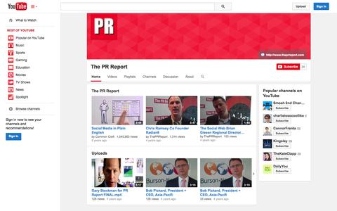 Screenshot of YouTube Page youtube.com - The PR Report  - YouTube - captured Nov. 5, 2014