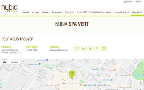 Screenshot of Contact Page nubiaspavert.ca - Nubia Spa Vert - Nous joindre - captured Nov. 16, 2018