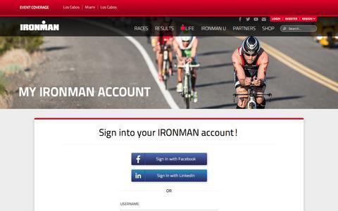 Screenshot of Login Page ironman.com - My IRONMAN Account - IRONMAN Official Site | IRONMAN triathlon 140.6 & 70.3 - captured Oct. 25, 2015