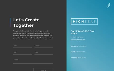 Screenshot of Contact Page highseas.com - Web Design & App Development San Francisco CA   HIGH SEAS - captured Oct. 22, 2018