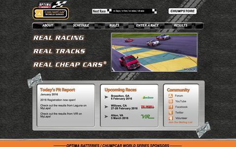 Screenshot of Home Page chumpcar.com - ChumpCar World Series | home - captured Jan. 15, 2016
