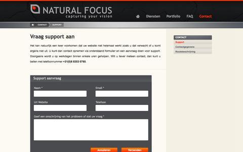 Screenshot of Support Page naturalfocus.nl - Support   Natural Focus   Webdesign   Grafische vormgeving   Friesland   Grou - captured Sept. 30, 2014