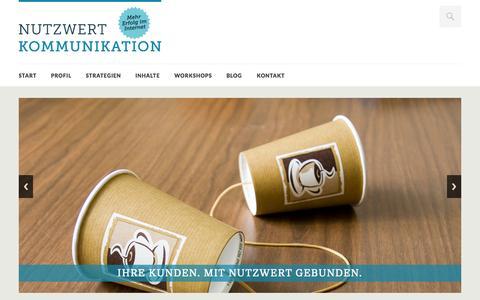 Screenshot of Home Page nutzwert-kommunikation.de - Content Marketing aus Hamburg schafft Reichweite im Internet › NUTZWERT KOMMUNIKATION - captured Sept. 30, 2014