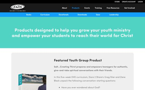 Screenshot of Products Page dare2share.org - Products That Help You Grow Your Youth Ministry - Dare 2 Share - captured Oct. 12, 2017