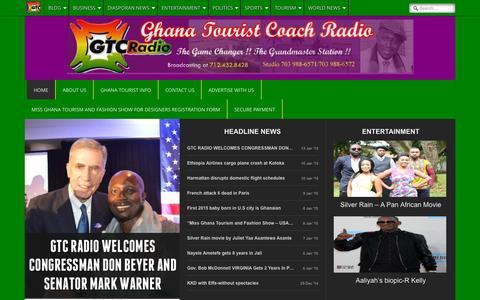 Screenshot of Home Page ghanatcradio.com - Ghana Radio   Ghana Tourist Coach Radio - Ghana Radio Station - captured Sept. 21, 2015