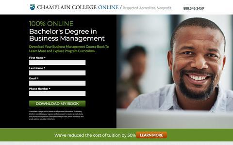 Screenshot of Landing Page champlain.edu - Online BS Business Management Degree   Champlain College - captured May 4, 2018