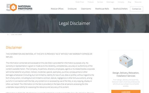 Screenshot of Terms Page nationalpartitions.com - Legal Disclaimer - captured Oct. 18, 2018