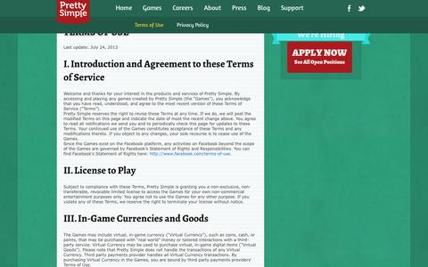 Screenshot of Terms Page prettysimplegames.com - Terms of Use | Pretty Simple - captured Sept. 25, 2014