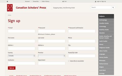 Screenshot of Signup Page cspi.org - Sign up - captured Oct. 1, 2014