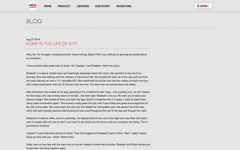 Screenshot of Blog eksobionics.com - Ekso Bionics - FOR THE HUMAN ENDEAVOR - captured Sept. 12, 2014