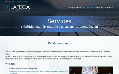 Screenshot of Services Page lateca.org - Exhibition stands and equipment - LATECA ltd - Service - captured July 9, 2016