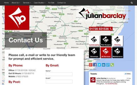 Screenshot of Contact Page julianbarclay.com - Contact Us - Welcome to Julian Barclay - captured Sept. 30, 2014