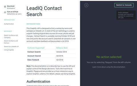 Screenshot of Developers Page leadiq.com - LeadIQ GraphQL - Contact Search - captured Dec. 6, 2018