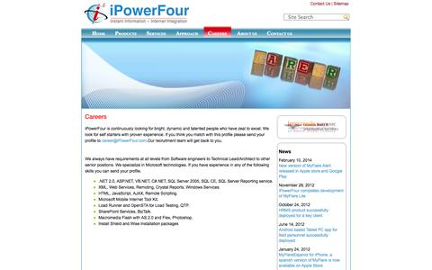 Screenshot of Jobs Page ipowerfour.com - Careers | iPowerFour Technologies Pvt. Ltd. - captured Oct. 6, 2014