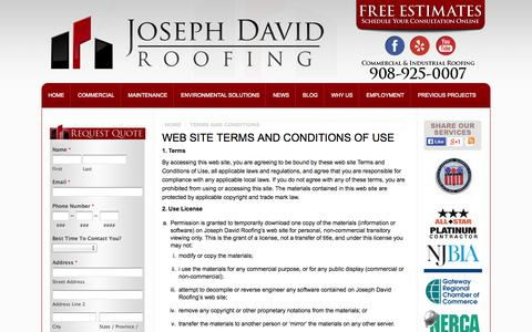 Screenshot of Terms Page jdavidroofing.net - Terms and Conditions - New Jersey - Roofing Contractor | Joseph David Roofing - captured Oct. 6, 2014