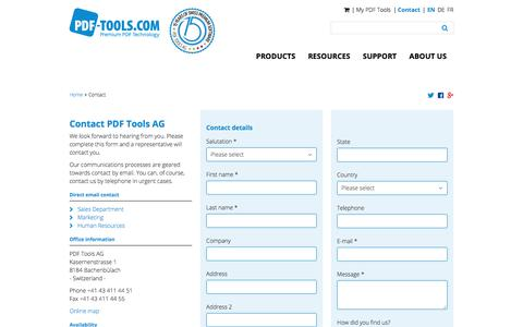 Screenshot of Contact Page pdf-tools.com - Get in touch with PDF Tools AG - captured June 22, 2017