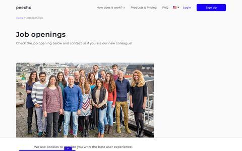 Screenshot of Jobs Page peecho.com - Job openings Archive - peecho - captured July 12, 2018