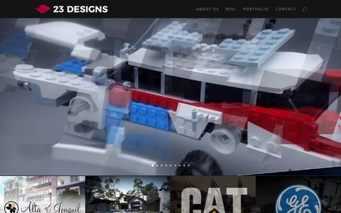 Screenshot of Home Page 23designs.net - 23 Designs - 3D Creative Animation Studio in Atlanta, Georgia - captured May 21, 2017