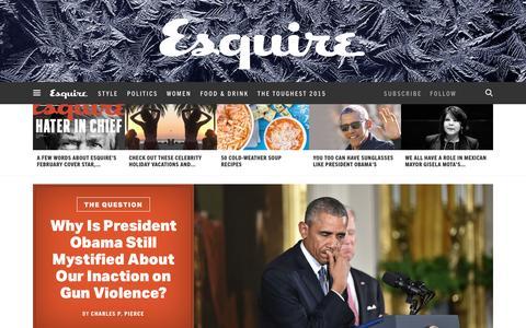 Screenshot of Home Page esquire.com - Esquire - Men's Fashion, Cocktails, Politics, Interviews, and Women - captured Jan. 6, 2016