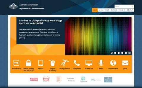 Screenshot of Home Page communications.gov.au - Home | Department of Communications - captured Sept. 24, 2014