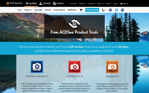 Screenshot of Trial Page acdsee.com - Free Trials - ACD Systems - captured Aug. 22, 2016