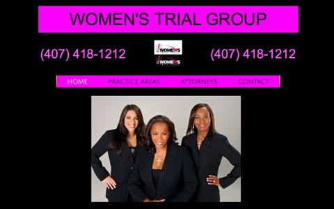 Screenshot of Home Page wtgfirm.com - Women's Trial Group - captured Feb. 17, 2016