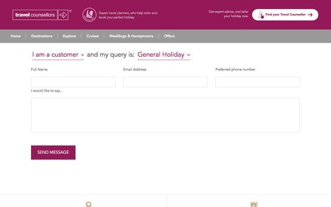 Screenshot of Contact Page travelcounsellors.co.uk - Contact us - captured Oct. 18, 2016