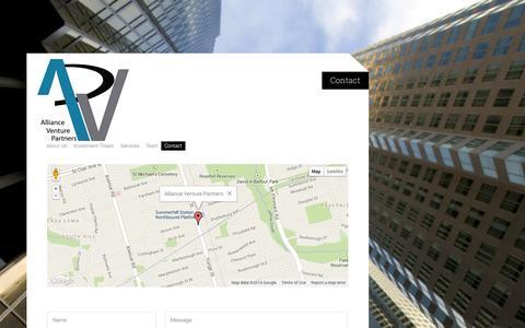 Screenshot of Contact Page alliancevp.com - Contact | Alliance Venture Partners - captured Oct. 4, 2014