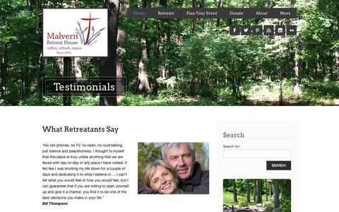 Screenshot of Testimonials Page malvernretreat.com - Testimonials - Malvern Retreat House - captured Oct. 7, 2014