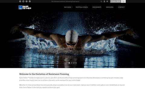 Screenshot of Home Page swimtether.com - Swim Belt and Accessories for Stationary Swimming Pool Exercise - captured Dec. 6, 2016