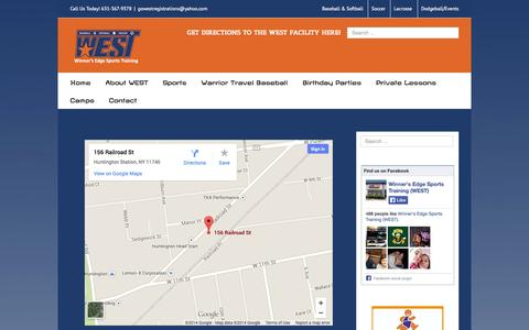 Screenshot of Maps & Directions Page gowestsports.com - Directions - Winner's Edge Sports Training (WEST) - captured Sept. 30, 2014