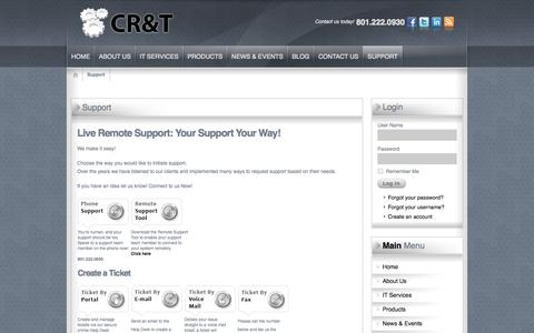 Screenshot of Support Page cr-t.com - Support | Salt Lake City, Northern Utah | CR&T Calculated Research & Technology - captured Oct. 28, 2014