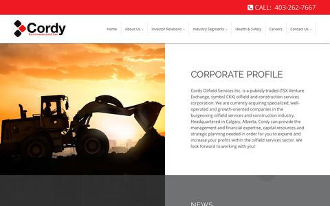 Screenshot of About Page cordy.ca - Corporate Profile | Cordy Oilfield Services Inc. - captured Sept. 29, 2018