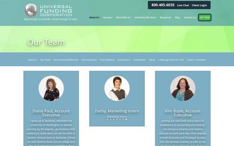 Screenshot of Team Page universalfunding.com - Meet the Team | Get to Know Universal Funding - captured Jan. 26, 2016