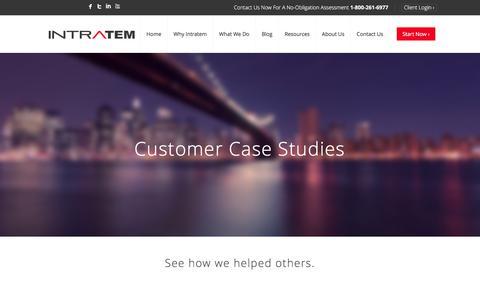 Screenshot of Case Studies Page intratem.com - Case Studies – Intratem - captured June 8, 2017