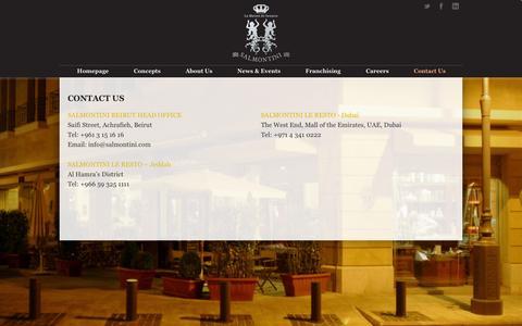 Screenshot of Contact Page salmontini.com - Salmontini La Maison du Saumon - Contact us - captured Oct. 1, 2014