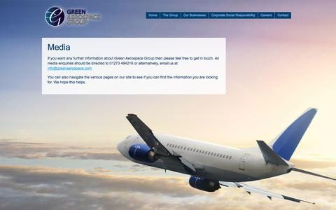 Screenshot of Press Page greenaerospacegroup.com - Media contacts - Green Aerospace Group - captured Sept. 30, 2014