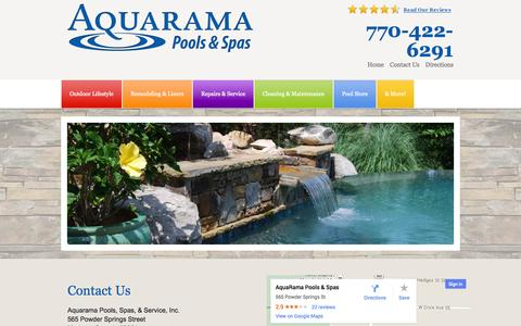 Screenshot of Contact Page Maps & Directions Page aquaramapoolsandspas.com - Contact Us | Aquarama Pools and Spas | 770-422-6291 | Atlanta Pools and Spas - captured Oct. 23, 2014