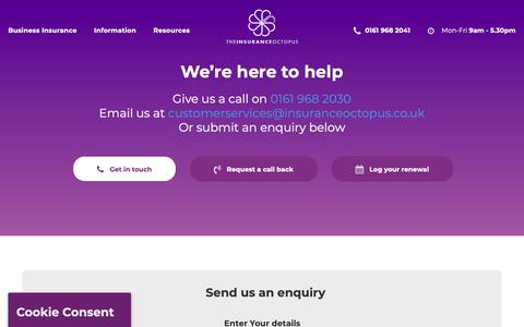 Screenshot of Contact Page insuranceoctopus.co.uk - Contact The Insurance Octopus   By Phone, Email or Write to us - captured Oct. 18, 2018