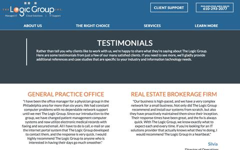 Screenshot of Testimonials Page thelogicgroup.com - Testimonials - IT Consulting Firm   The Logic Group, Inc. - captured Oct. 20, 2018