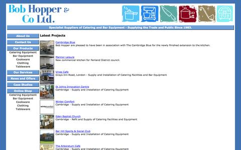 Screenshot of Case Studies Page bobhopper.co.uk - Kitchen Catering Supplies in Cambridge from Bob Hopper:  Projects - captured Oct. 5, 2014
