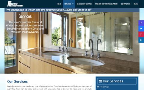 Screenshot of Services Page lewisconstruction.com - Services - captured Sept. 30, 2014
