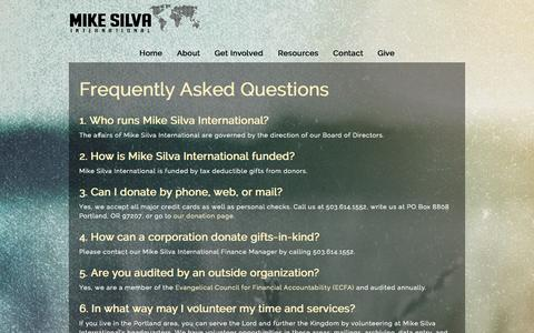 Screenshot of FAQ Page mikesilva.org - FAQ's «  Mike Silva International - captured Oct. 7, 2014