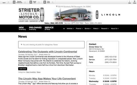 Screenshot of Press Page strietermotorlincoln.com - News Blog Post List | Strieter Motor Co - captured April 27, 2017