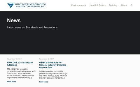 Screenshot of Press Page greatlakesenvironmental.com - News — Great Lakes Environmental & Safety Consultants - captured Sept. 30, 2018