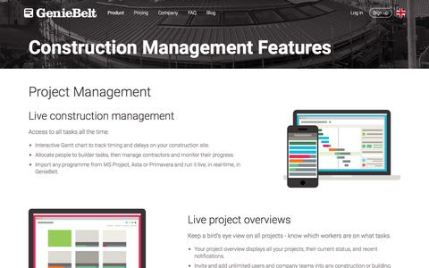 Screenshot of geniebelt.com - Project Management Software for Construction in Cloud (Web & Mobile) - GenieBelt - captured Dec. 15, 2016