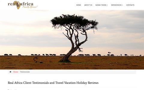 Screenshot of Testimonials Page real-africasafaris.com - Real Africa Client Testimonials and Travel Vacation Holiday Reviews - captured Sept. 24, 2018