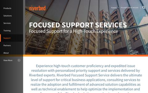 Screenshot of Support Page riverbed.com - Focused Support Services | Riverbed | GB - captured March 1, 2018