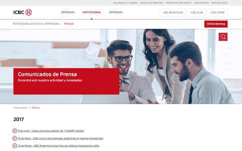 Prensa de ICBC - Actualidad del banco, Notas y Comunicados