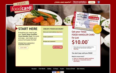 Screenshot of Home Page texasfoodcard.com - Food Handlers Card Texas | Online Certification & Testing - captured Sept. 19, 2014